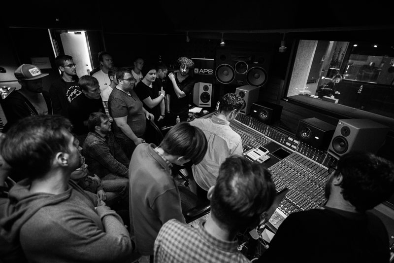 A very full control room for the tracking session.