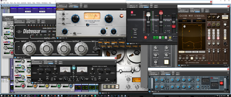 Some of the Universal Audio and Avid plug-ins I used on the session.