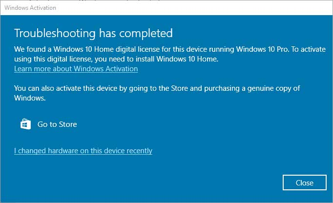 Windows 10 deactivation issue