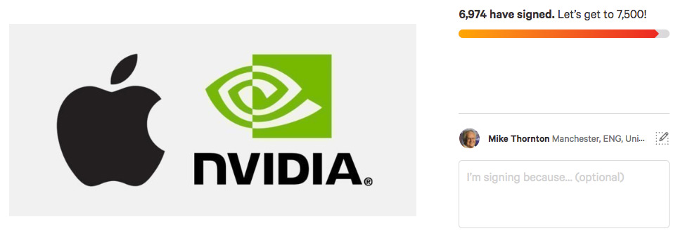 Nvidia Mojave Support Petition to Apple
