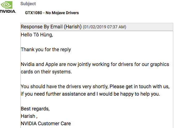 Nvidia Support Response re mac OS Mojave Drivers