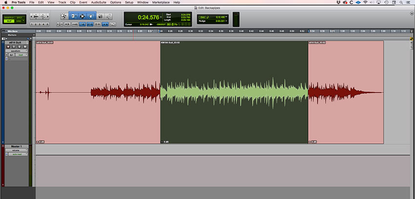 Using Edit - Trim To Fill Selection extends the green clip to the beginning and end of the of the edit selection.
