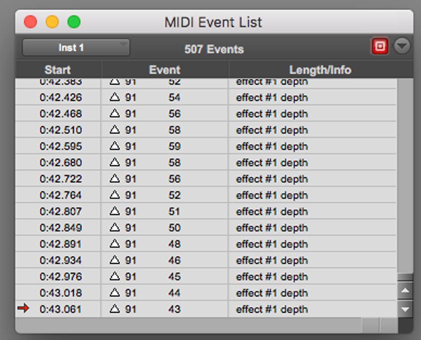 MIDI Event List