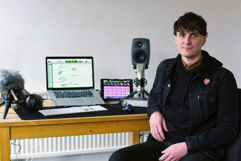Trent Williams winner of the Neve 1073LB 500 series mic pre at his home studio.
