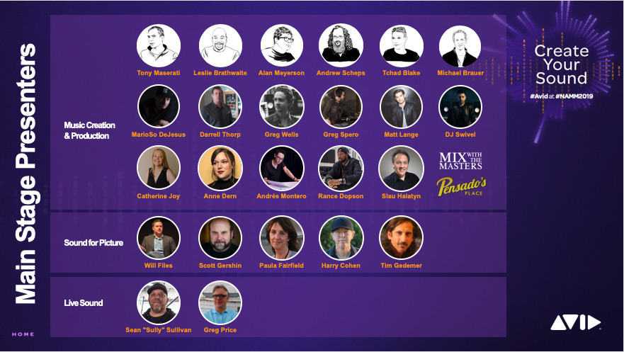Avid Main Stage Contributors for NAMM 2019