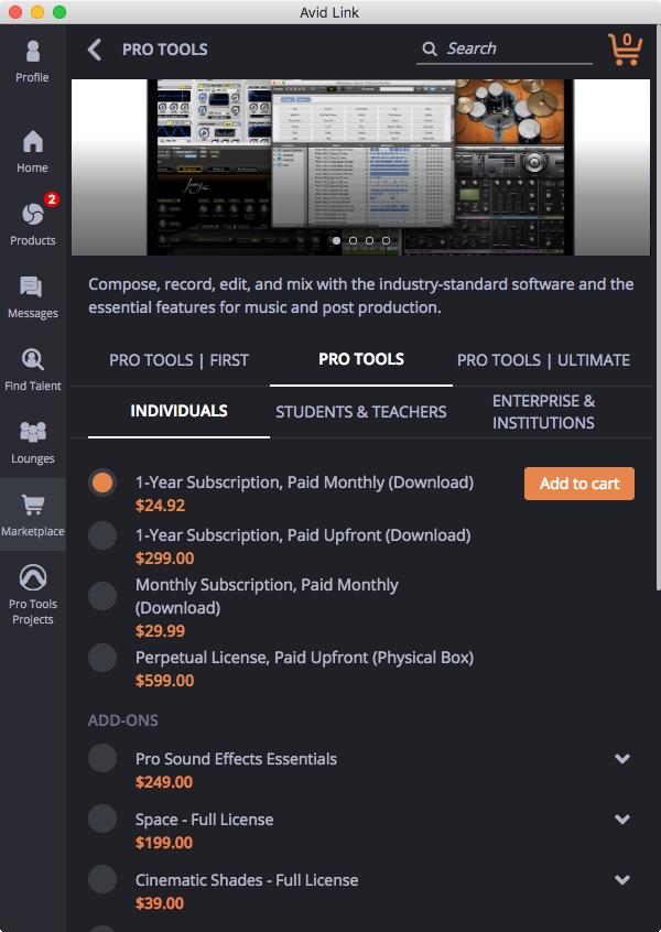 Avid Link Marketplace Tab