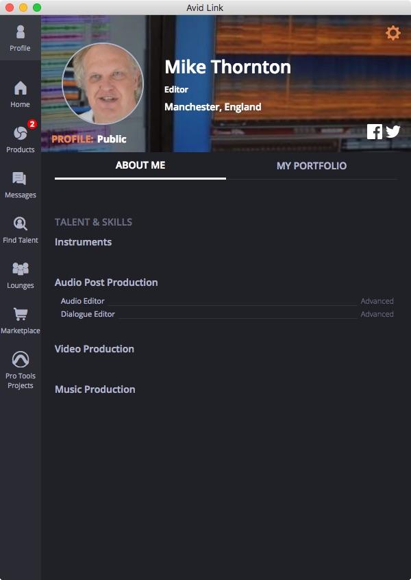 Avid Link Profile Tab