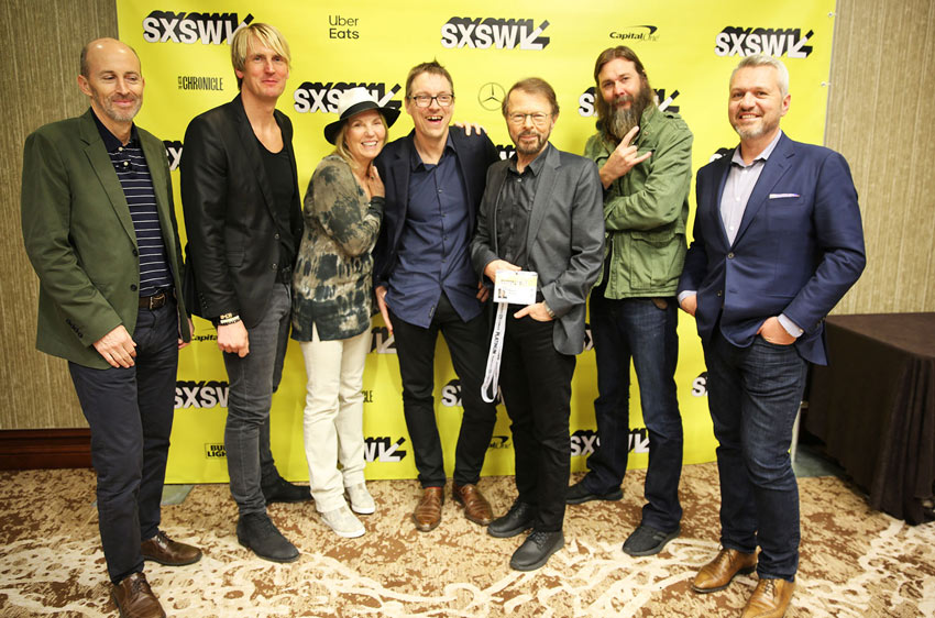 From left to right: Peter Leathem (PPL), Niclas Molinder (Session), Susan Butler (Music Confidential), Phil Sant (Stage) Bjorn Ulvaeus (ABBA, Session), Barak Moffitt (Universal Music Group), and Francois Quereuil (AVID)