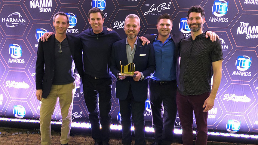 Avid won the Workstation Technology/Recording Devices Tec Awad at NAMM earlier this year and it is François Quereuil in the centre holding the award,