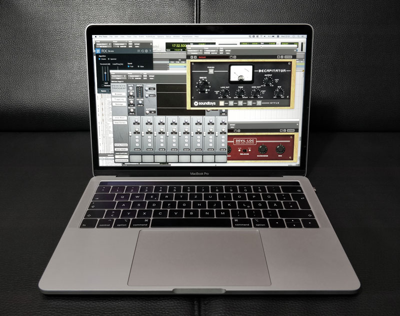 MacBook Pro Running ProTools With No Extra Cables or Connections.