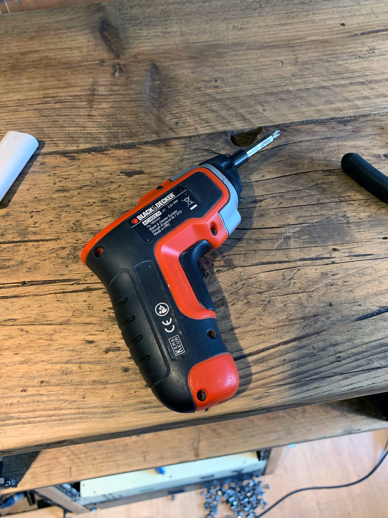 The right tool for the job, my Black & Decker cordless screwdriver.