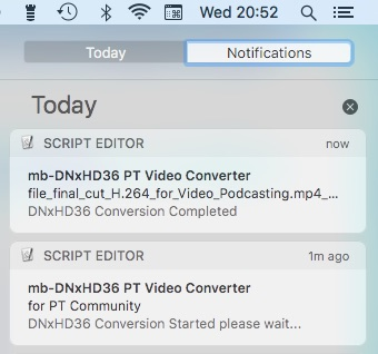 Conversion completed notification