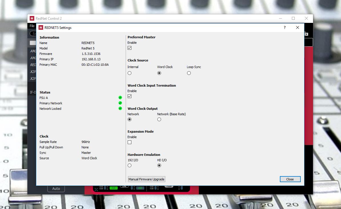 Unlocking external sync on the Rednet 5 inside Rednet Control.