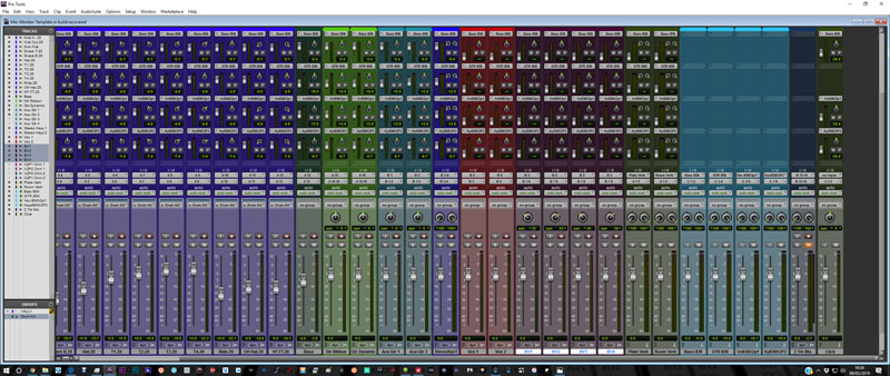 My Pro Tools tracking template. Each of the IEM outs is given it's own Aux Send. Click on the image to see a larger version.