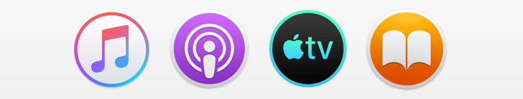 Music, Podcasts, TV and Books icons courtesy of 9to5Mac