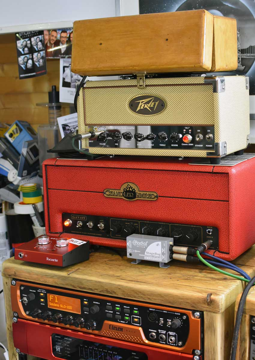The guitar amp and processing stack in James' studio including two valve/tube amp heads.