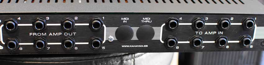 The Amp I/O section of the back panel on the Kahayan 8x4 Amp / Speaker switcher.
