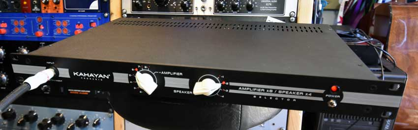 Front panel of the Kayahan 8x4 Amp/Speaker switcher.