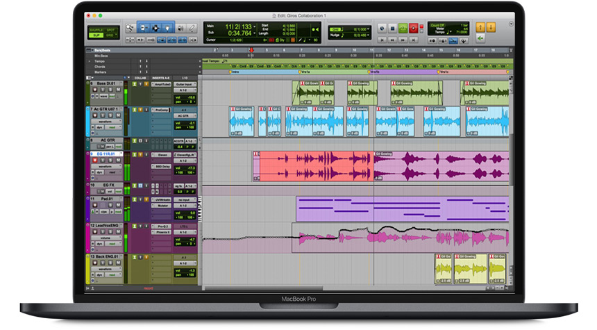 Apple MacBook Pro With Pro Tools on screen