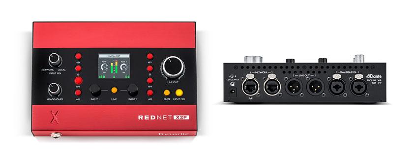 The Focusrite Rednet X2P Dante Audio Interface