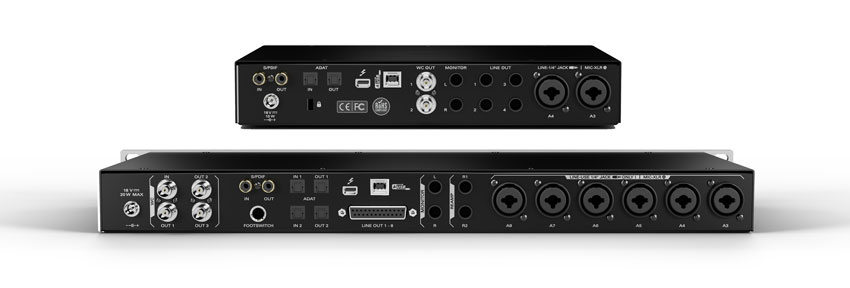 The rear panels of the Antelope Audio Discrete 4 and Discrete Thunderbolt and USB audio interfaces