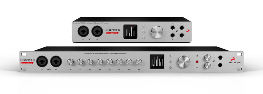 The front panel of the new Antelope Audio Discrete 4 and Discrete 8 Thunderbolt and USB audio interfaces.