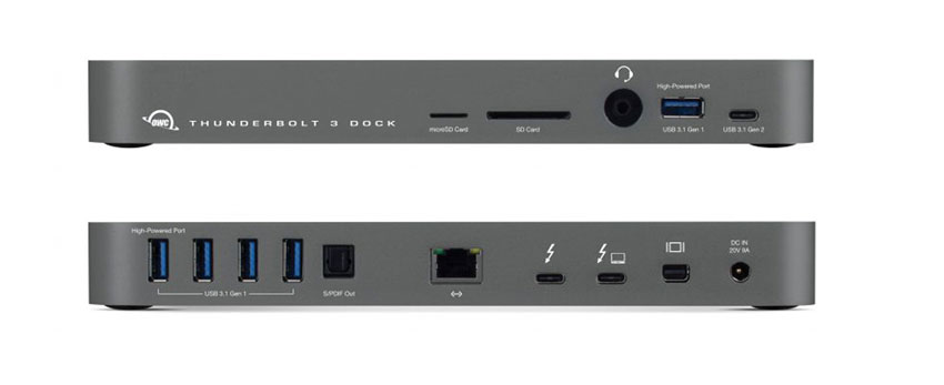 The OWC Thunderbolt 3 Dock front and back.