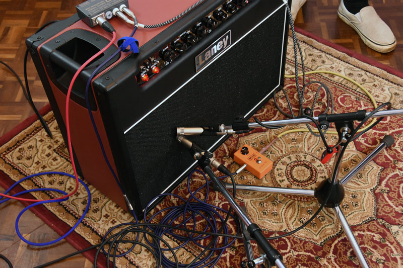 Pair of Warm Audio WA-84 Small Diaphragm Pencil Condenser Microphones on a guitar cab.