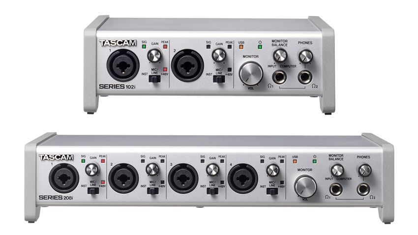 The Tascam SERIES 102i and 208i USB Audio and MIDI interfaces