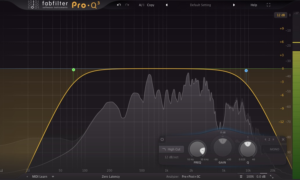 dialog recording high and low pass filters