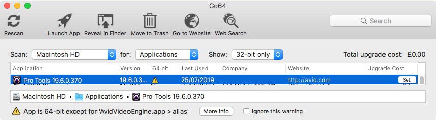 Go64 - Warning about app components not being 64-bit