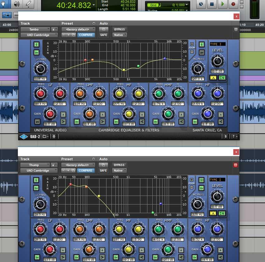 Percussion EQ settings (Tambourine Top & Thump Bottom)
