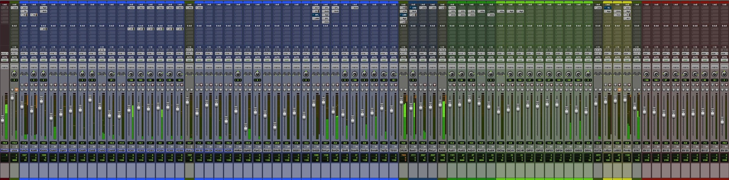 This particular session for a song has double the amount of tracks than what is shown in this image