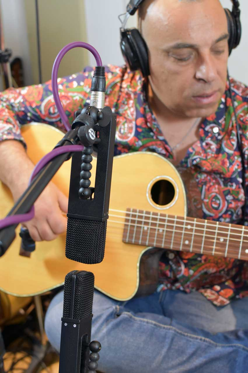 Using a pair of JZ Microphones BH series mics in a Mid/Side pair to record the acoustic guitar.