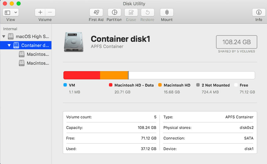 Disk Utility shows that the single Macintosh volume you see in the Finder is actually made up of a read-only volume (orange) and a data volume (red).