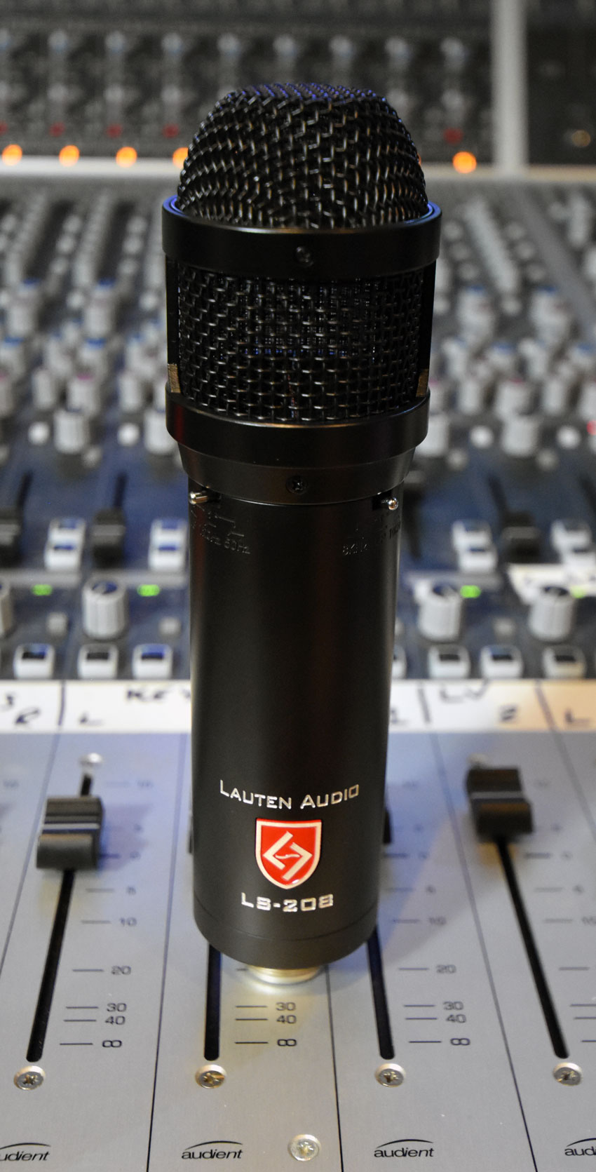 The Lauten LS-208 large diaphragm condenser mic with both high and low pass filters