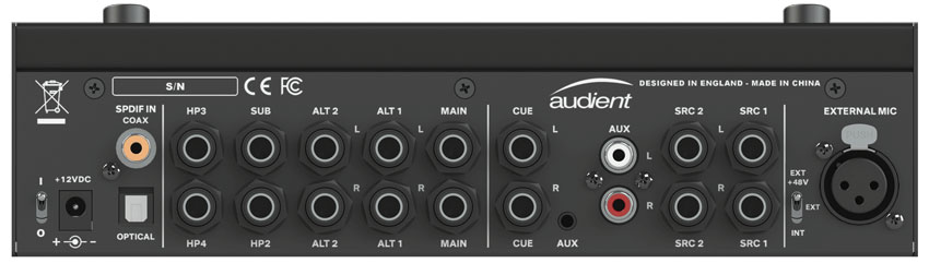 The real panel of the Audient Nero with TRS balanced I/O as well as SPDIF and Optical digital connections.