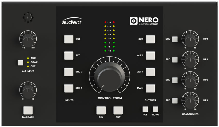 The top panel of the new Audient Nero. Everything where you would expect it to be.