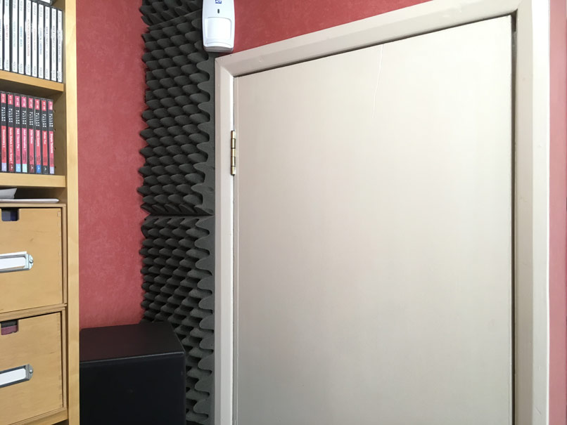 back wall left side with computer cupboard and-deep bass trap covered in acoustic foam tiles