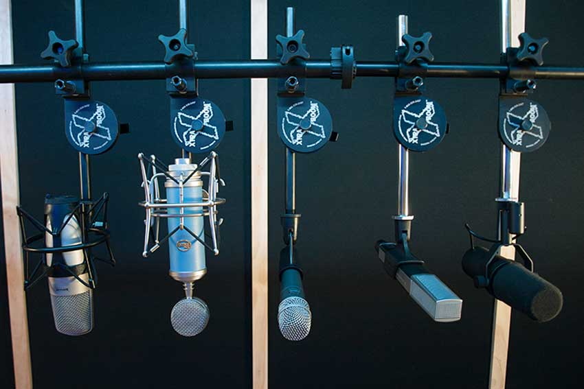 Latch Lake XtraBooms supporting mics from a single micKing 1100 stand.