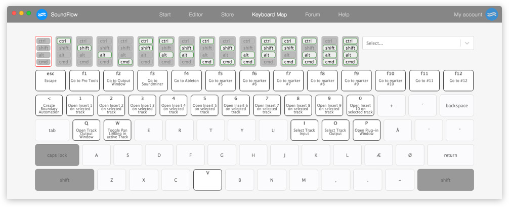 SoundFlow Keyboard Map - Click on this to see a larger version…