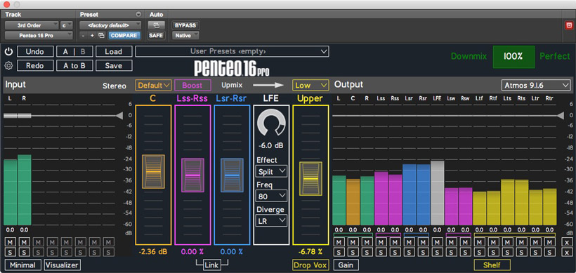 Penteo 16 Pro upmix plugin to Dolby Atmos 9.1.6 without the visualizer