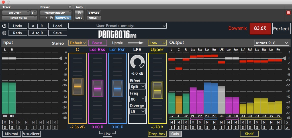 Penteo 16 Pro with output gain changes