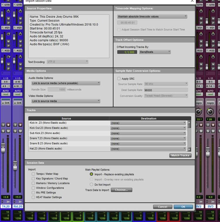 The Import Session Data dialogue box in Pro Tools.