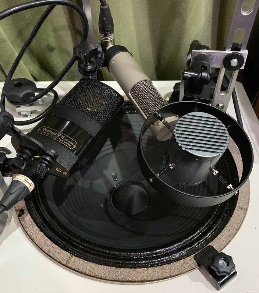 "The Sontronics Corona, Royer Labs R10 and JZ Microphones Vintage V11 on a single 12"" speaker."