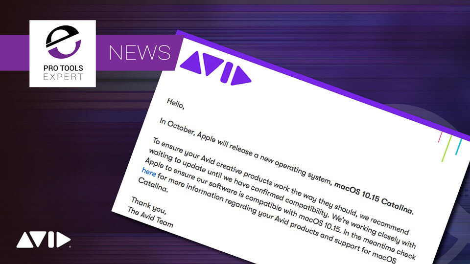 Avid Advise Users Not To Upgrade To Catalina Yet