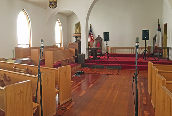 Final mic placements to capture the impulse response in the sanctuary