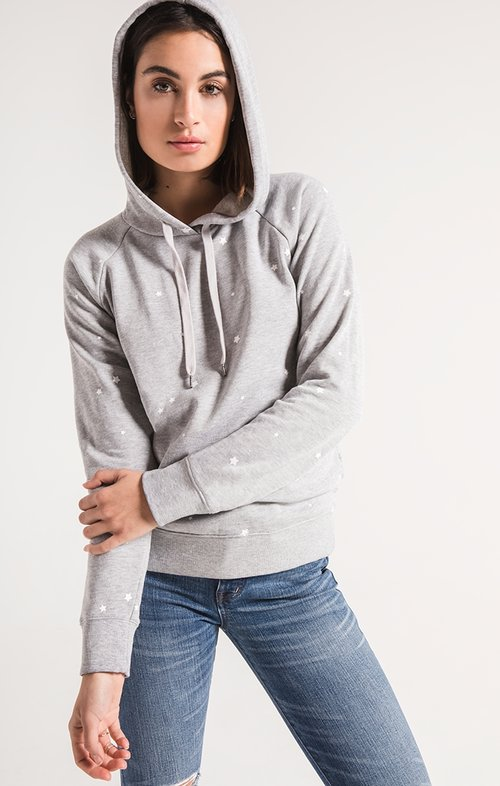 f7f888bc1b Z Supply The Star Print Fleece Pullover - Heather Grey/ White — Deep ...