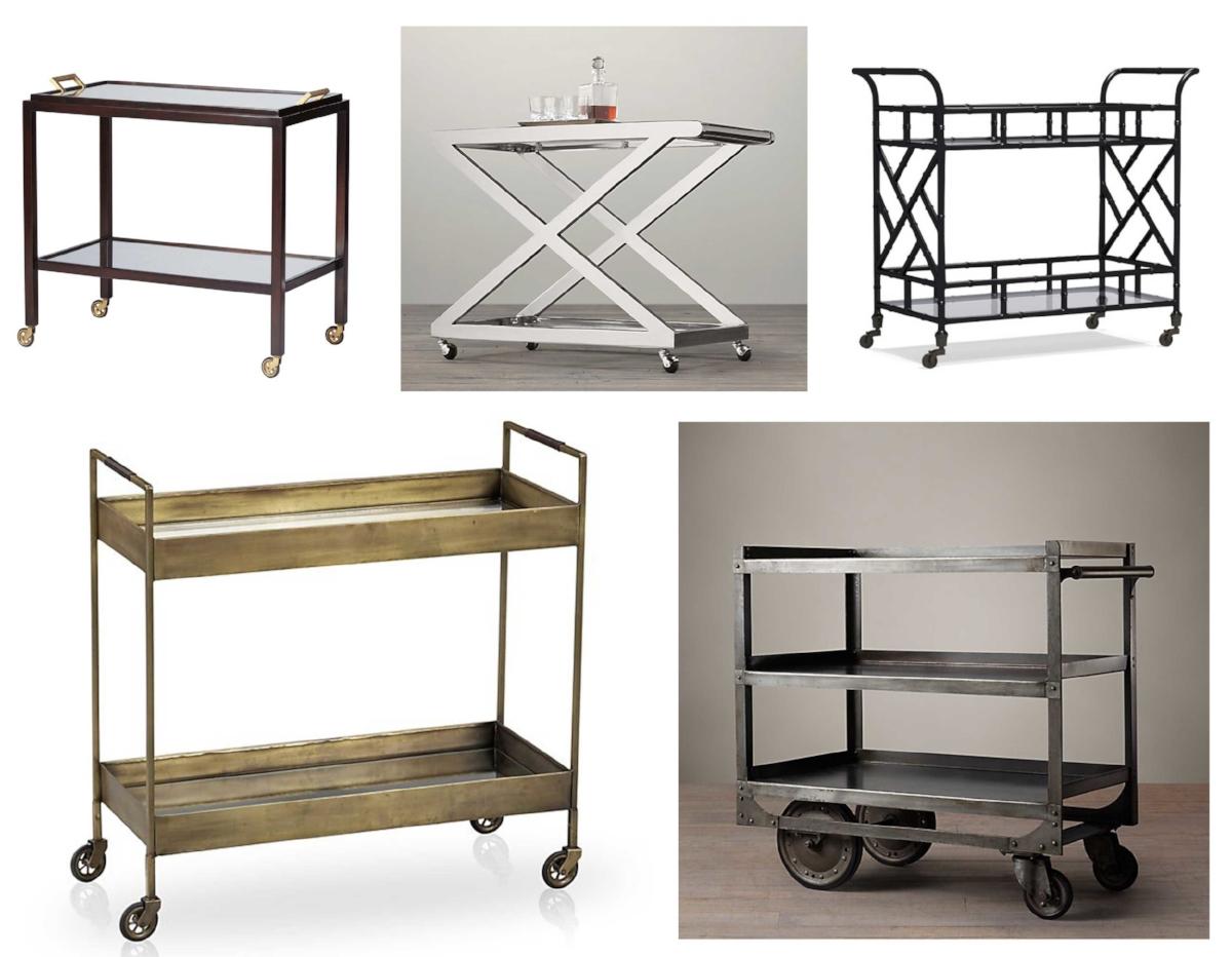 Bar carts shown are Serena & Lily Parisian ($995), Restoration Hardware 1950's Milo ($895), Williams-Sonoma Chippendale ($699), Crate & Barrel Libations ($599) and Restoration Hardware 1930's Industrial Steel