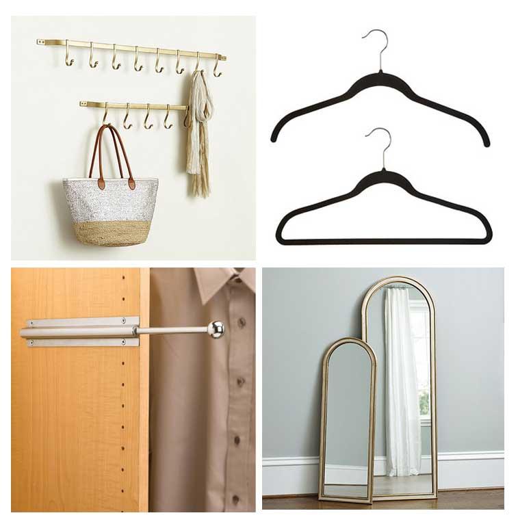 Ballard Design Carsten Gold Hook Rack, Black No-Slip hangers, Chrome Valet Rod and Ballard Bardot Mirror
